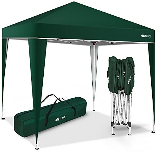 tillvex Pavillon 3x3m wasserdicht | Pop-Up Faltpavillon höhenverstellbar | Gartenzelt UV Schutz 50+ | Partyzelt mit Tasche für Garten (Grün)