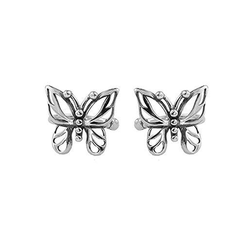 Ear Cuff Wrap Clip On Butterfly Earrings for Women Girls Non Pierced Ear Fashion Cute Animal Small Hoop Huggies Sterling Silver Cubic Zirconia Cartilage Earring Hypoallergenic Huggie Hoops 10mm Gifts