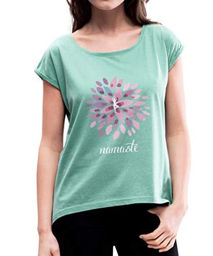 Namaste Yoga Lotus Om Meditation Frauen T-Shirt mit gerollten Ärmeln, XL, Minze meliert
