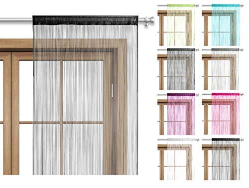 wometo Fadenvorhang Türvorhang 90x245 Stangendurchzug Schlaufe - waschbar (schwarz)