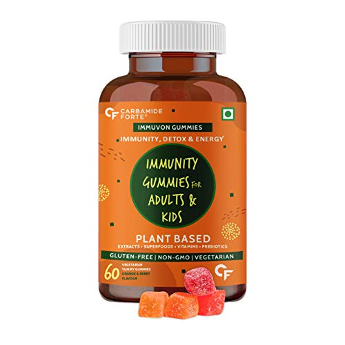 Carbamide Forte Immunity Booster Gummies for Adults & Kids with Vitamin C, Plant Based Extracts, Superfoods, Vitamins, Minerals & Prebiotics – 60 Veg Gummies