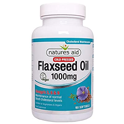Natures Aid Flaxseed Oil, 1000 mg, 90 Softgel Capsules (Cold Pressed Flaxseed Oil, Omega 3, 6 and 9 for the Maintenance of Normal Cholesterol Levels, Made in the UK, Vegan Society Approved)
