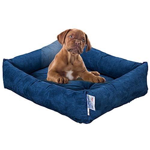Evergreenweb Cama para Perro, Azul 65x85 Sofá para Perro, Alfombrilla para Perro, Cesta para Perro, Acogedora Cama para Mascotas en la Habitación Borde Elevado, con Suave cojín Desmontable - R