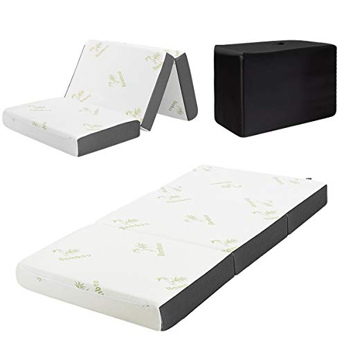 """Giantex 4"""" Folding Mattress, Tri-fold Memory Foam Mattress w/Ultra Soft Bamboo Cover, Breathable & Portable, Used for Travel Away Floor, Futon & Camp Cot Topper (Twin)"""