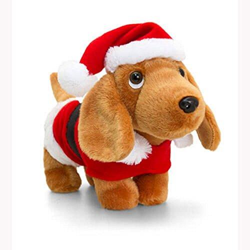 Keel Toys Douggie der Sausage Dog Toy in Christmas Santa Anzug