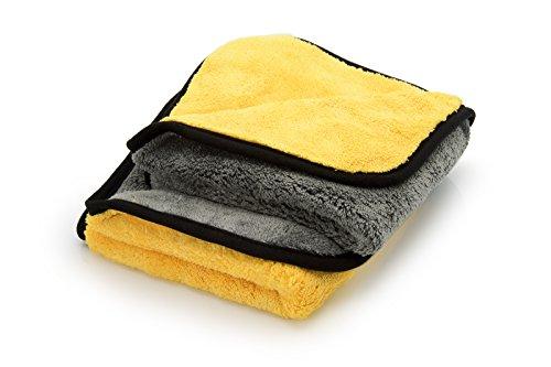ginoclean® 2X Profi Auto-Poliertuch, weiches Microfasertuch, schonende Autopflege, Mikrofaser-Trockentuch, 40x40cm, Yellow & Grey | Yellow & Grey