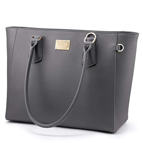 Laptoptasche Damen 15,6 Zoll Handtasche Groß Business Laptop Schultertasche Umhängetasche Tote Bag Aktentasche Leicht Laptop Notebook für Büro Schule Einkauf Grau