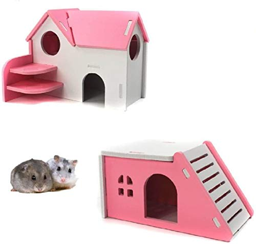 Casa de hámster de madera, juguete para hacer ejercicio, escondidas, natural, divertido nido (paquete de 2) (rosa)
