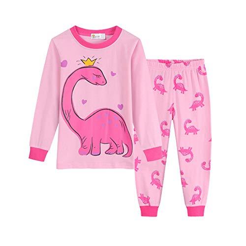 Chickwin Impresión de Dinosaurio Pijamas para Niños Dos Piezas, Niño Niña Algodón Unisex Larga Manga Pijama (Rosado,130cm)