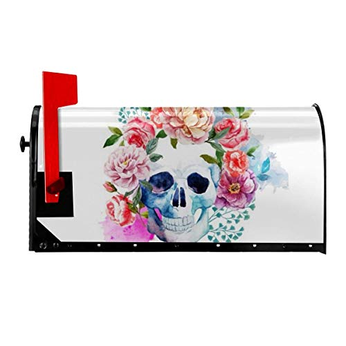 Odeletqweenry Cute Skeleton with Flowers Print Mailbox Cover Magnetic Mailbox Wraps Post Letter Box Cover Standard Size 21 x 18 Inches Waterproof Canvas Mailbox Cover