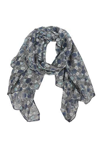 Zwillingsherz Seiden-Tuch im auffälligem Design - Hochwertiger Schal für Damen Mädchen - Halstuch - Umschlagstuch – Pashmina - Loop - weicher Schlauchschal für Frühjahr Sommer Herbst Winter - grau