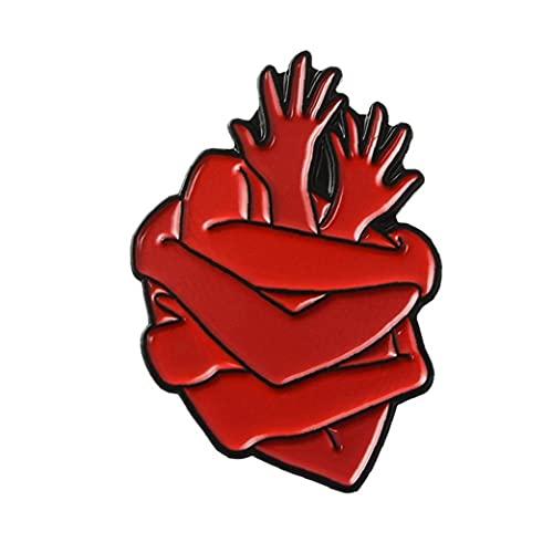 TOSSPER Órgano del Esmalte del Corazón del Pin del Corazón Bolsa Broches Hug Ropa Pin De La Solapa De Los Hombres Ropa De Mujeres De La Insignia Joyería Regalo Médico
