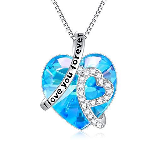 """Kette Herz Sterling Silber""""Ich liebe dich für immer"""" Halskette Damen Anhänger mit Geburtsstein Kristallen (I Love You Forever (Simulierter Aquamarin))"""