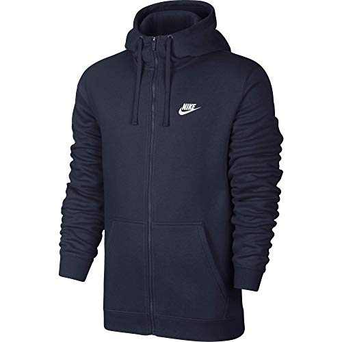 Men's Nike Sportswear Club Full Zip-Up Hoodie, Fleece Hoodie for Men with Paneled Hood, Obsidian/Obsidian/White, L