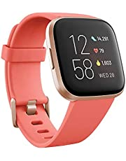 Fitbit Versa 2 Health & Fitness Smartwatch Voice Control, Sleep Score & Music, Blossom, with Alexa Built, One size