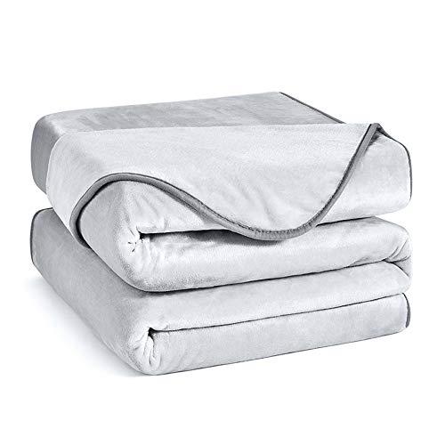 Charm Heart Luxury Fleece Blanket,All Season 350GSM Blanket Super Soft Lightweight Warm Blanket for Home Bed Blankets King Size, Grey 90×108 in
