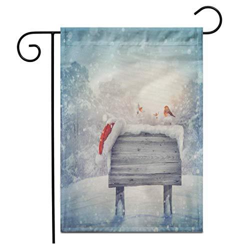12,5 'x 18' Gartenflagge Holzschild und Weihnachtsmütze im Winterwald Weihnachten Frohe abstrakte Advent Hintergrund Outdoor doppelseitige dekorative Haus Hof Flaggen