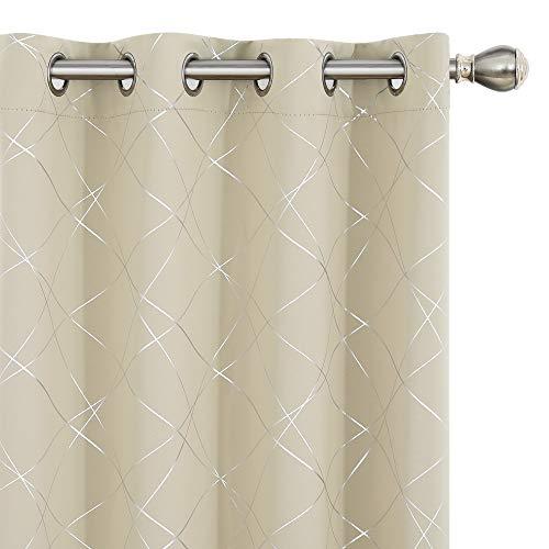 UMI Amazon Brand Cortinas Opacas de Salon Dormitorio Aislantes Termicas con Ollaos 2 Piezas 140x260cm Beige Oscuro
