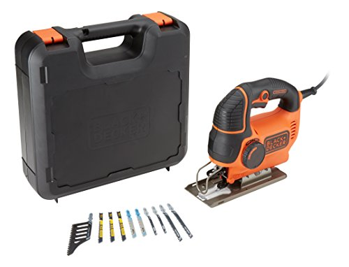 Black+Decker Stichsäge (620W, max. 90 mm Schnitttiefe, variable Hubzahl, Softgriff, Sight-Linie, Schutzbügel, Sägeblasfunktion, inkl. 10 Stichsägeblätter & Koffer) KS901PEKA