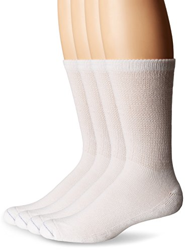 Dr. Scholl's Men's 4 Pack Diabetic and Circulatory Non Binding Ankle Socks, White, Shoe Size: 7-12