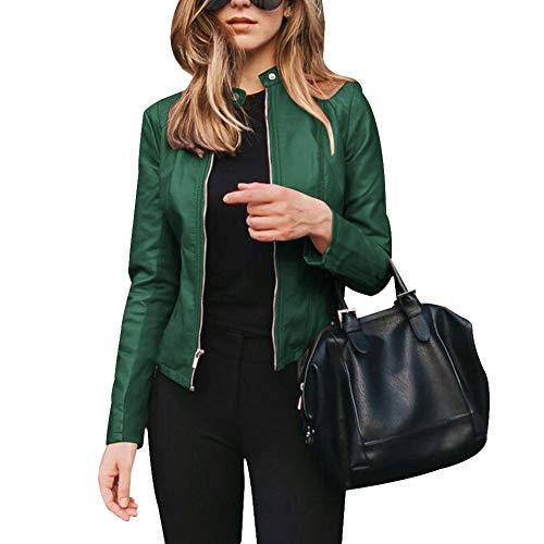 Giytoo Women PU Leather Blazer Jackets Zippers Stand Collar Office Fashion Coat Outerwear