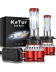 KATUR H7 Bombillas led Faros Chips CSP Mini Design Super Bright 12000LM Kit de conversión de Faros a Prueba de Agua 60W 6500K Xenón Blanco-2 años de garantía