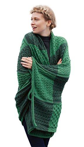 Aran Woollen Mills Irischer Patchwork Kuscheldecke Überwurf Wolldecke aus 100% Merino Wolle (167cm x 110cm) (Kiwi)