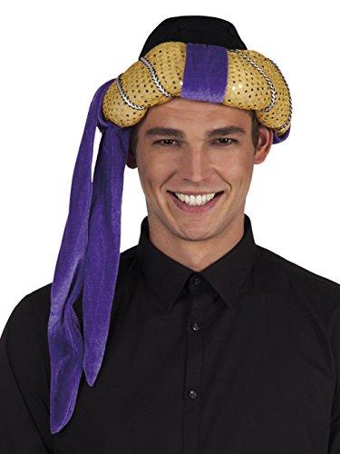 Boland 81002 - Hut Turban Sultan Orient, Gold-Violett , Kopfumfang 57 - 61 cm, Stoffmütze, Kostüm, Karneval, Mottoparty, Verkleidung, Theater, Accessoire