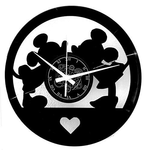 orologio da parete vinile Instant Karma Clocks Orologio in Vinile da Parete Cartoon Amore Love Topi Topolini
