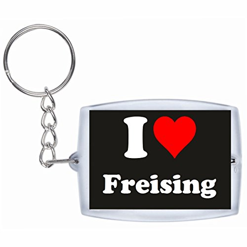 Druckerlebnis24 Schlüsselanhänger I Love Freising in Schwarz - Exclusiver Geschenktipp zu Weihnachten Jahrestag Geburtstag Lieblingsmensch