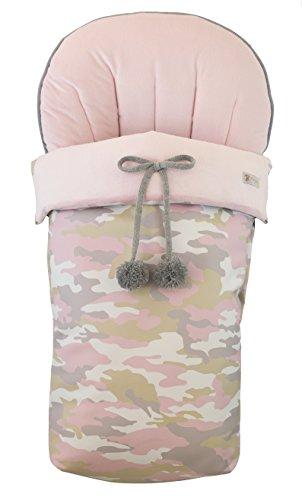 BORDAYMAS/Winterfußsack Fußsack für Kinderwagen, aus synthetischen rosa Haaren und Kunstleder Camouflage Print. Hergestellt in Spanien