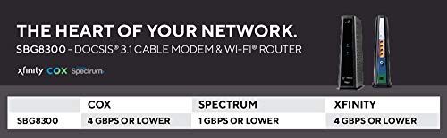 Arris surfboard sbg8300 docsis 3. 1 gigabit cable modem & ac2350 dual band wi-fi router, approved for cox, spectrum… 5 3 products in 1: docsis 3 1 cable modem, ac2350 dual band wi-fi, 4 port gigabit router (cable digital voice service not supported) compatible with major u s cable internet providers including cox, spectrum, xfinity & others cable internet service required not compatible with att, verizon, centurylink or other dsl or fiber internet providers 32 downstream x 8 upstream docsis channels, 2 downstream x 2 upstream docsis 3 1 ofdm channels best for cable internet speed plans up to 4 gbps. Cable internet service required