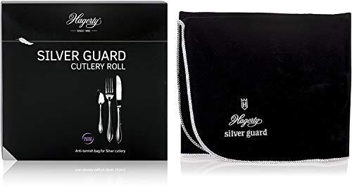 Hagerty Silver Guard Cutlery Roll Bestecktasche für Silber und Versilbertes 34 x 58 cm I Praktische Silberbesteck Aufbewahrung mit Anlaufschutz I Besteckhalter für Silber-Besteck mit 12 Fächern
