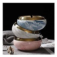 TEAYASON 喫煙灰皿、タバコ用セラミックセミマニュアルラウンド灰皿、大理石パターン、パティオ/屋外/屋内/家庭用卓上美しい装飾クラフト卓上灰皿(色:灰色)/ブルー+グレー+ピンク