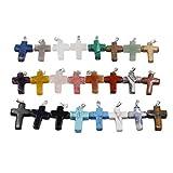 HEALLILY 30 colgantes de 24 colores con cruz de piedras de piedras preciosas de cuarzo, para curar dijes sin cadena, suministros para collar y pendientes y pulsera (color mixto)