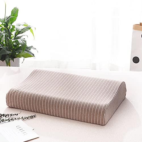 MRBJC Almohada suave para el cuello, diseño de rayas, para dormir, látex, espuma viscoelástica, almohada de cama para dormir lateral, respaldo marrón, 50 x 30 x 7/9 cm