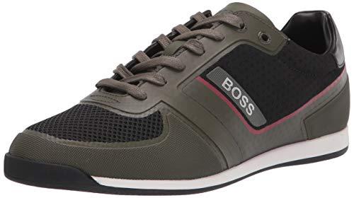 Hugo Boss mens Sneaker, Olive Green/Black, 7 US