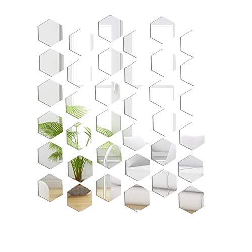 36 Stück 4cm Spiegelaufkleber, Spiegel Wandaufkleber Acryl 3D Sechseck Spiegel Spiegelfliesen Selbstklebend für Ankleidezimmer Schlafzimmer und Wohnzimmer Wand-Dekoration