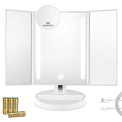 Auxmir Espejo Maquillaje Tríptico con Luz LED de Mesa con Mini Espejo Aumento de 10X, 180 Giratorio, con Pantalla Táctil y Almacenamiento, Espejo Cosmético Triple Recargable, Blanco