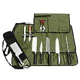 JURONG Bolsa para cuchillos de chef con 17 compartimentos, para guardar cuchillos, cucharas y tenedores, resistente al agua, bolsa de almacenamiento para cuchillos (verde militar)