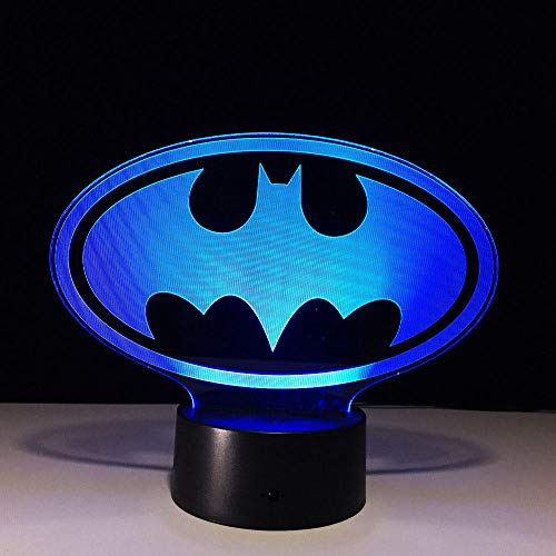 Chaohui Marvel Hero Batman Mask Logo 3D Led Video Lamp Toch Cool Figure Kids Toys Table Night Light Luminaria Kid Gift 3 Touch 7 Colors Study Bedroom Child Bedroom Living Room