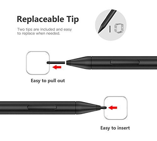 MoKo Pen für Surface, Stylus Stift Palm Rejection, Eingabestift Hohen Empfindlichkeit 1024 Druckstufen Touchstift Aluminium Kompatibel mit Surface Go 2/Surface Pro 3/4/5/6/7/Go/Laptop/Book - Schwarz