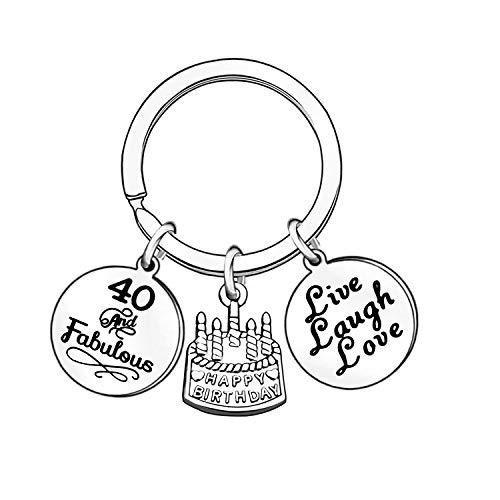 Schlüsselanhänger für Damen und Herren, Geschenk für Familie, Jahrestag, Schmuck, 40. (Silber) - UK0011