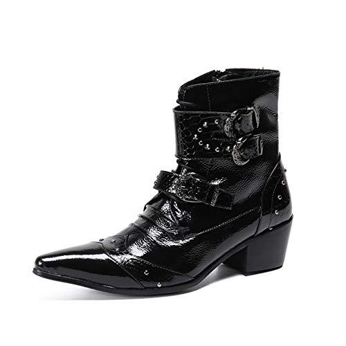 YOWAX Botines de Hombre Cordones Botas de Vaquero Cuero Casual Militar Combat Knight Boots Negro-BLACK-EU46UK12