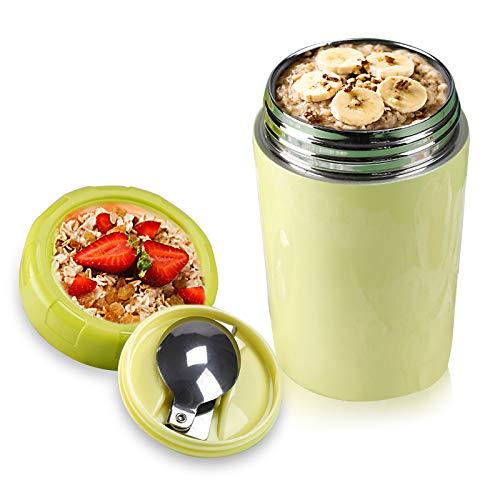 Chingde Frasco de Comida Caliente, 500 ml Recipiente de Comida Aislado Tarro de Comida de Acero Inoxidable con Recipiente de Comida térmica de Cuchara Plegable Termo para Sopa, Verde
