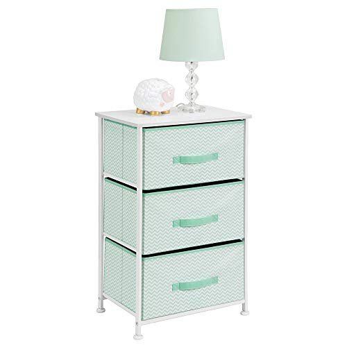 New mDesign Vertical Dresser Storage Tower - Sturdy Steel Frame, Wood Top, Easy Pull Fabric Bins - O...