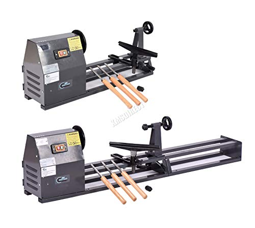 SwitZer Heavy Duty 350W Electric 1000MM Wood Turning Mini Lathe Woodworking Spin Machine Tool Set Bench Top Variable Speed Multi-use SZ-WL01 Grey
