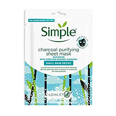 Simple Face Mask, Daily Skin Detox Charcoal Face Mask, Purifying , Korean Face Mask, Sheet Mask (Pack of 4) by Unilever UK Limited