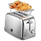 Yabano Tostador de Acero Inoxidable, 2 Ranuras Anchas para 2 Rebanadas de Pan de 900 W, 7 Posiciones de Tostado con Función Stop y Bandeja Recogemigas, Apto para Todo Tipo de Pan