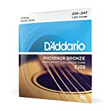 D'Addario 12 Phosphor Bronze Acoustic Guitar Strings, Light, 10-47 (EJ38)